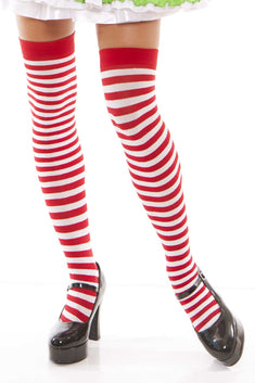 Elegant Moments White & Red Striped Thigh High Socks