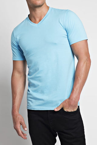 Trend Sky Blue Stretch V-Neck Tee