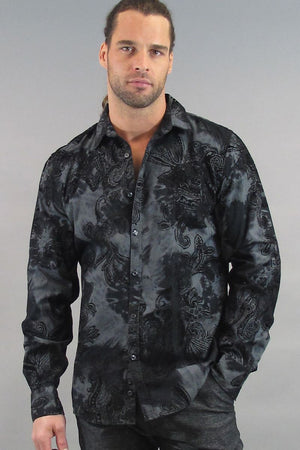 VintageRed Black Flock Paisley Button-Up