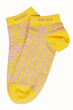Hugo Boss Yellow & Grey Stripe Marc Sneaker Low-Cut Sock