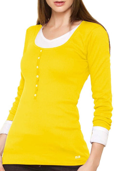 Fiory Yellow Ribbed Long Sleeve Henley - CheapUndies.com