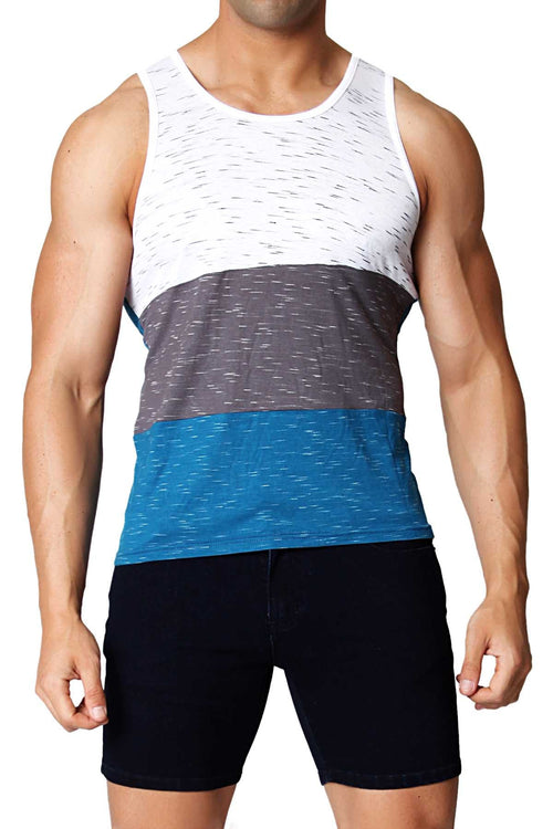 Timoteo Grey & Turquoise Morro Bay Tank - CheapUndies.com