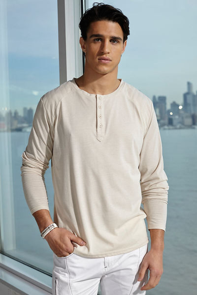 P.O.V. Cloud-Beige Moto-Stitch L/S Henley - CheapUndies.com