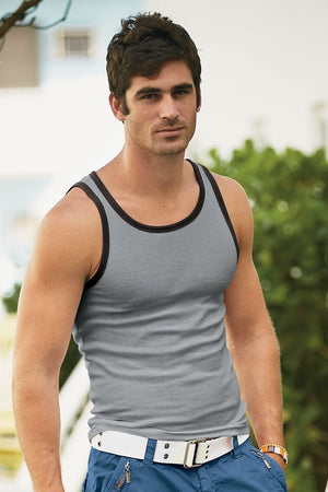 P.O.V. Grey/Blue & Black Ribbed Tank Top