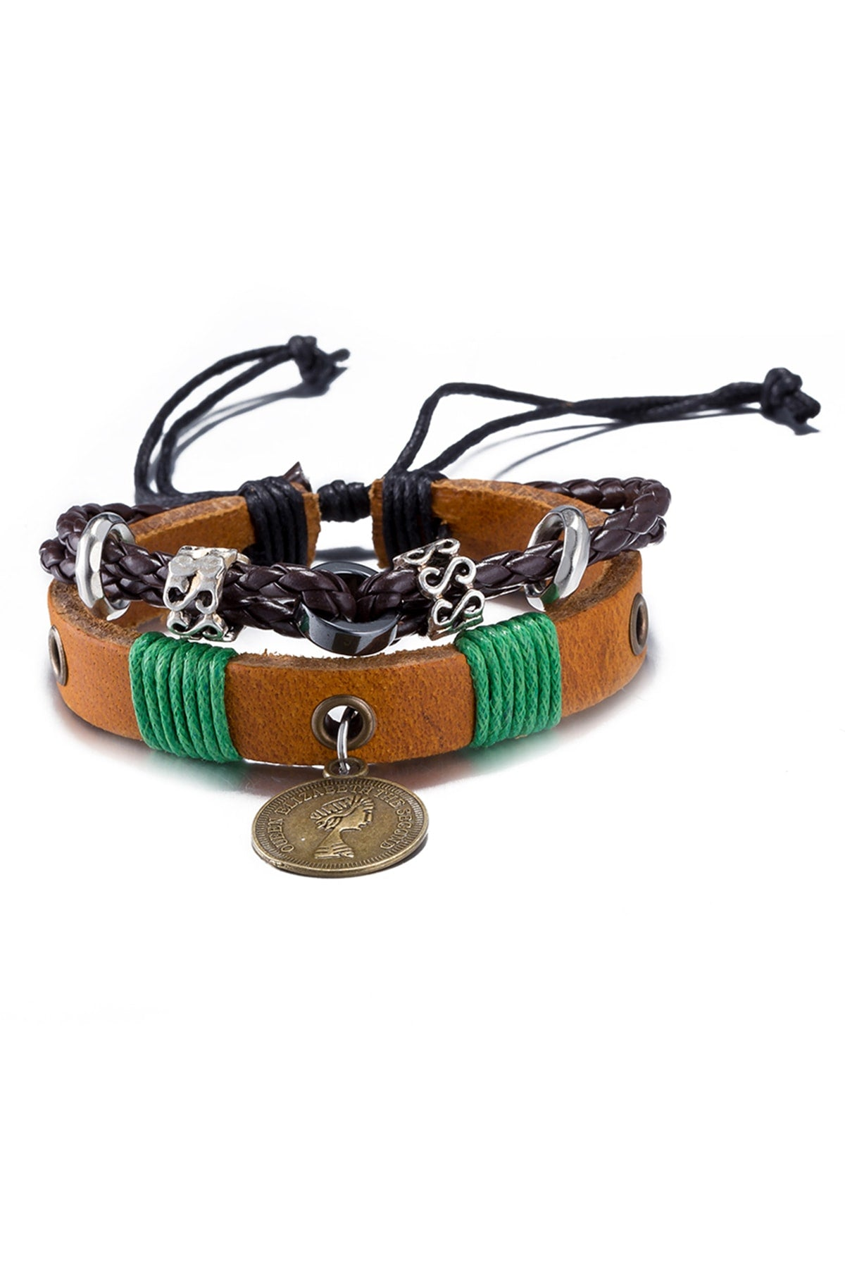 Brown Leather Infinity Charm Bracelet