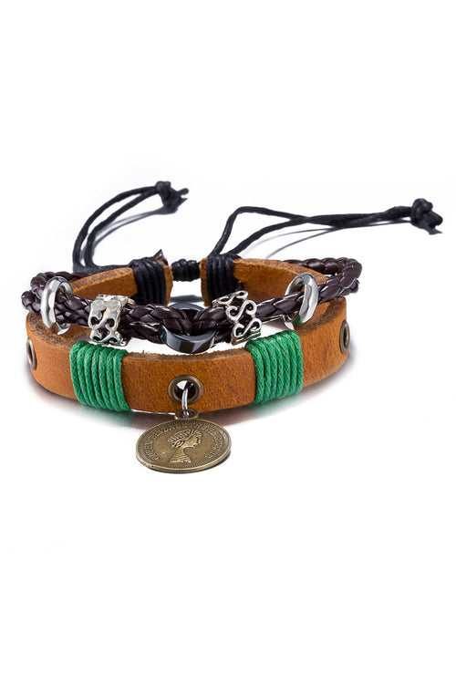 Brown Leather Infinity Charm Bracelet - CheapUndies.com