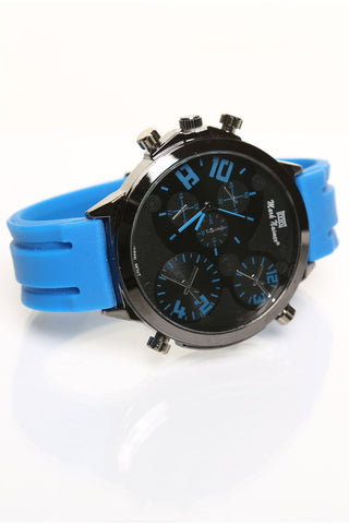 Mark Naimer Large Blue Silicon Band Watch