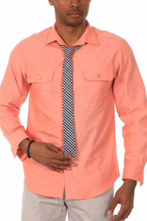 Justified Lies Salmon Nobody In The Bedroom Button-Up Shirt