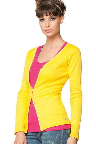 Fiory Yellow Ribbed Cardigan