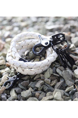 Smash White Leather Cord Keychain