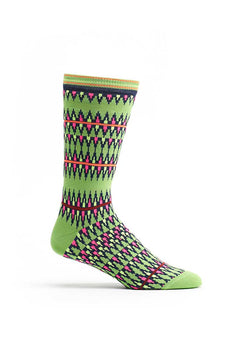 Ozone Green Kente Spears Calf Sock