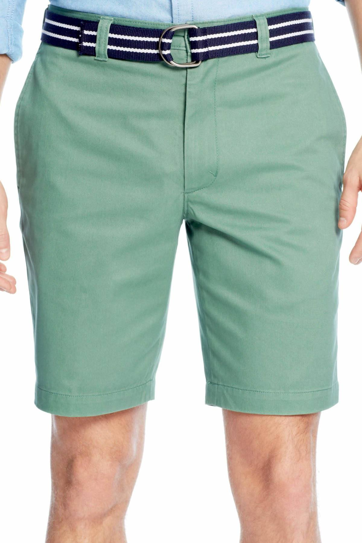 Club Room Peashoot Belted Flat-Front Short