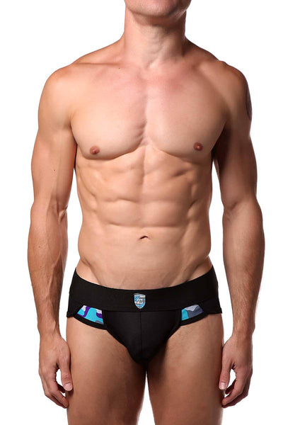 Freedom Reigns Black/Aqua-Camo Sport-Mesh Strike Brief