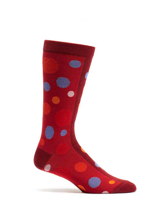 Ozone Red Dual Dots Crew Sock