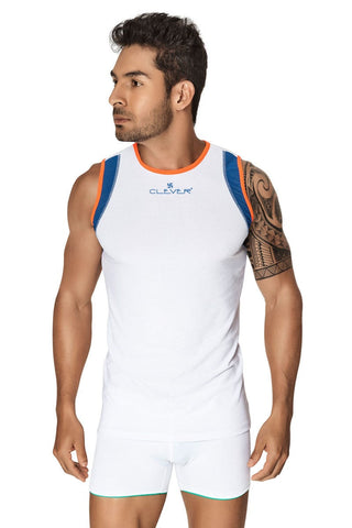 Clever White & Blue Xavier Tank Top
