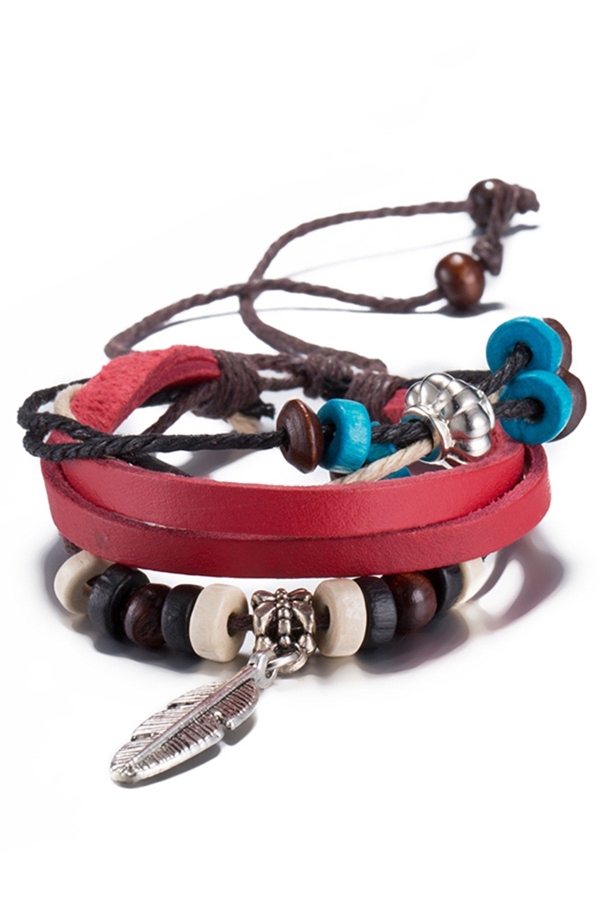 Red Leather Feather Charm Bracelet