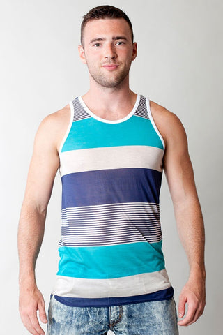 Timoteo Blue St. Tropez Stripe Tank Top