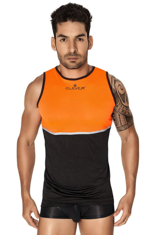 Clever Orange & Black Votix Tank Top