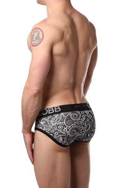 Alexander Cobb Black & White Maori Tattoo Slip Brief