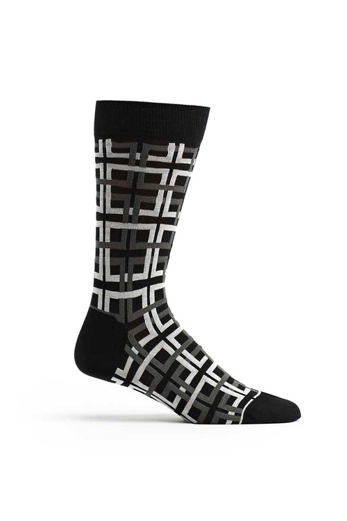 Ozone Black Interlocking Squares Calf Sock - CheapUndies.com