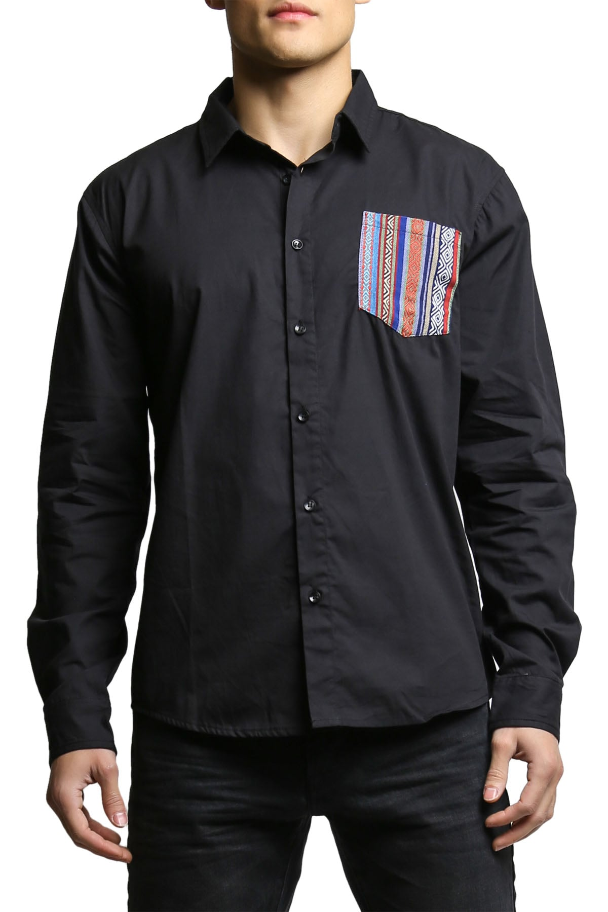 00 Nothing Black Navajo Joe Button-Up