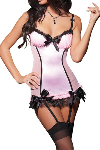 Coquette Pink & Black Mesh Chemise