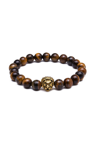 Something Strong Brown Lava Stone & Gold Lion Bracelet