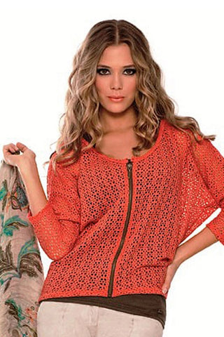 Fiory Coral Open Knit Sweater