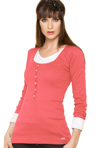 Fiory Coral Ribbed Long Sleeve Henley