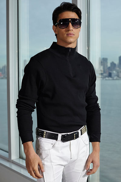 P.O.V. Black Basic-Zip Mock Turtleneck