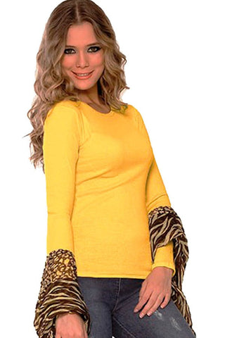 Fiory Yellow Ribbed Long Sleeve Top