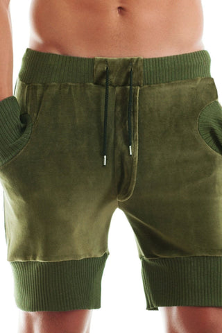 Khaki Velvet Sweat Shorts