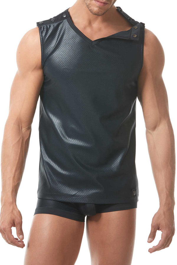 Gregg Homme Black Reveal Italian Jacquard Muscle Top - CheapUndies.com