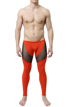 CheapUndies Burnt Orange Mesh Panel Performance Tight