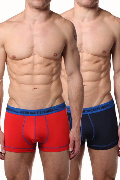 2(X)IST Flame & Navy Performance Cotton Trunk 2-Pack - CheapUndies.com
