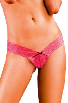 Baci Pink Lace Low-Rise G-String