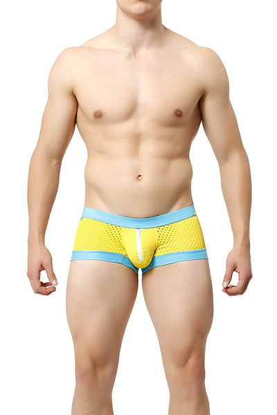 Tulio Yellow Mesh Go-Go Zipper Swim Trunk - CheapUndies.com