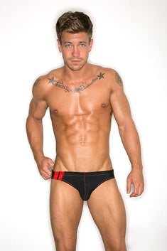 CheapUndies Black Racing Swim Brief