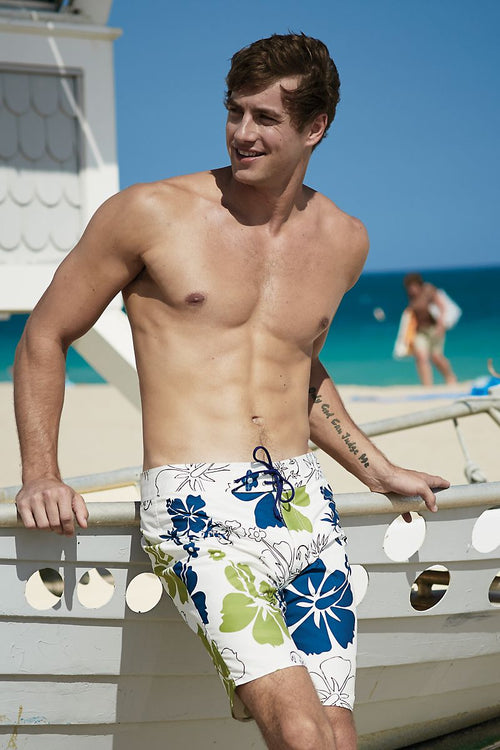 Body Tech White, Blue & Green Paradise Boardshort - CheapUndies.com