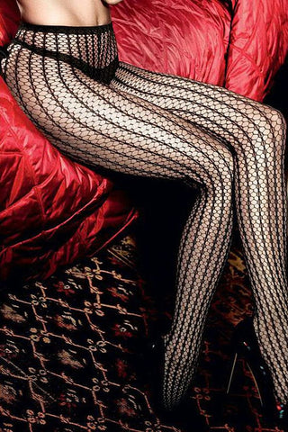 Baci Black Honeycomb Pantyhose
