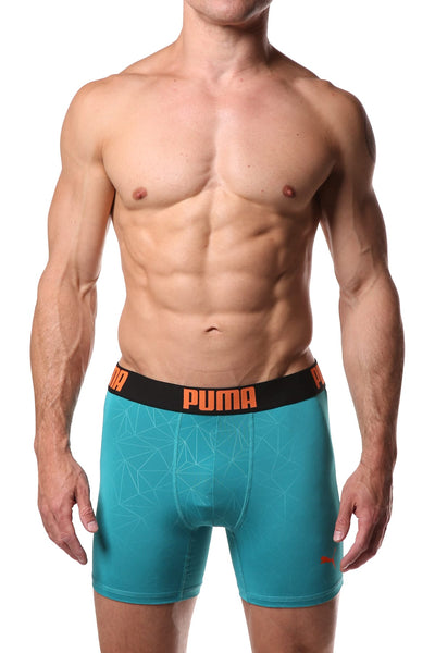 PUMA Teal Geometric Print Boxer Brief - CheapUndies.com