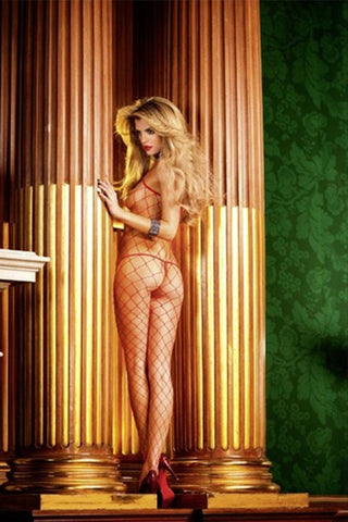 Baci Red Fencenet Bodystocking