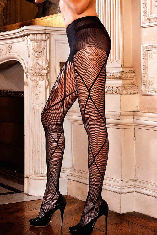 Baci Black Patterned Control Top Jacquard Pantyhose - CheapUndies.com