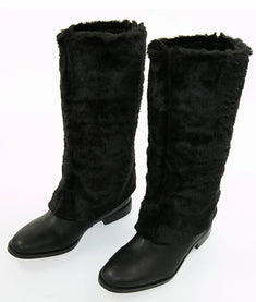 Victoria's Secret Black Boot With Fur Overlay