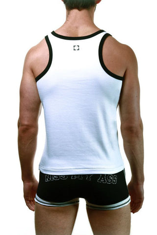 4Skins White & Black Basic Tank Top