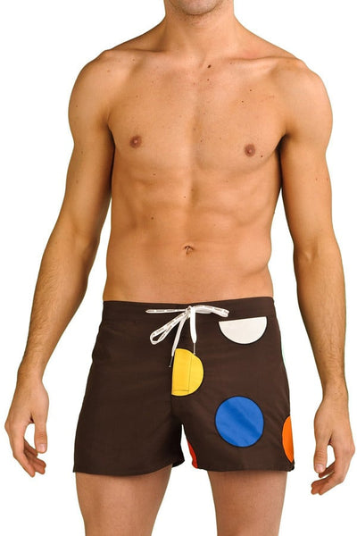 Baskit Brown Dots Swim Short - CheapUndies.com