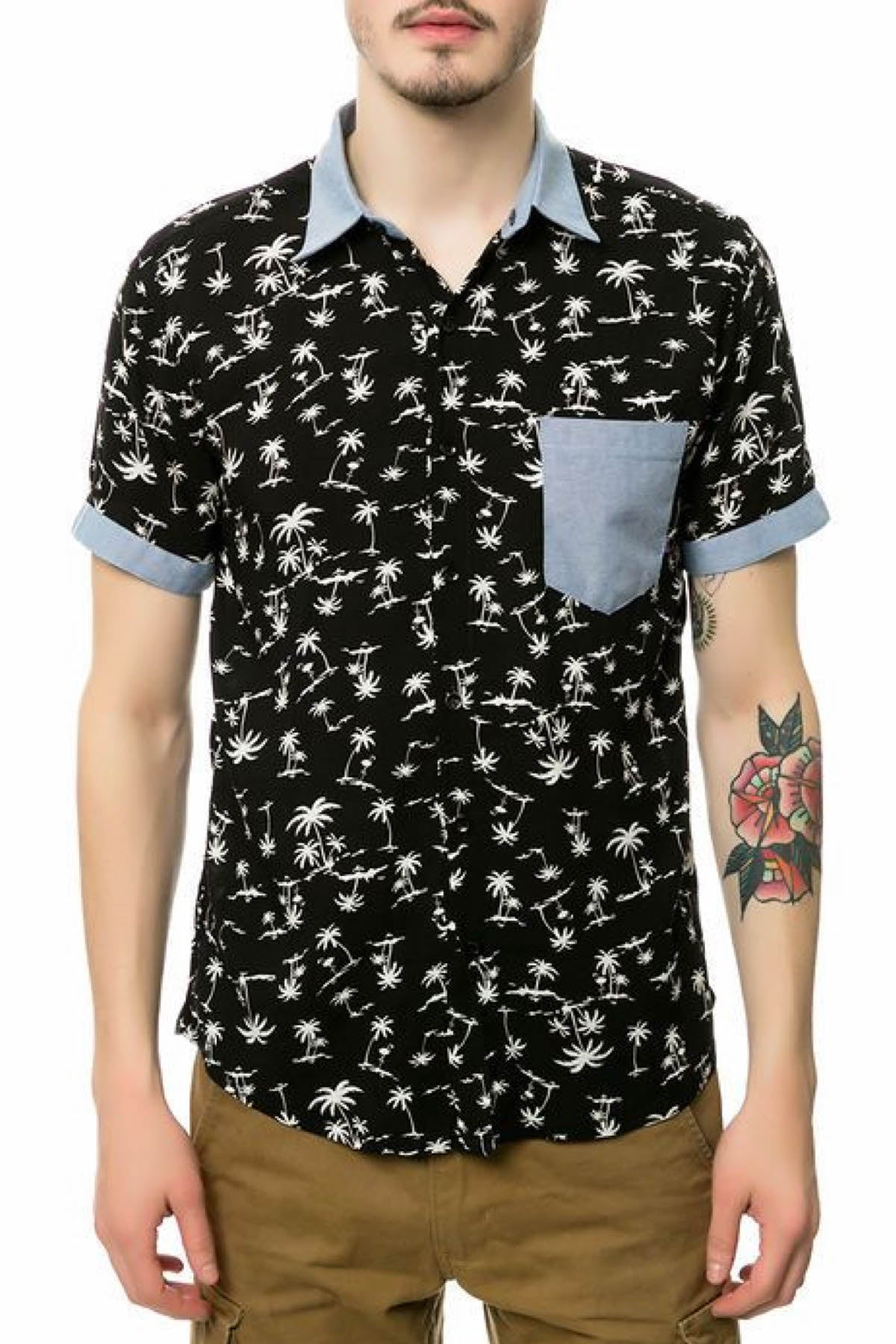 Oxymoron Black Arctic Tropic Button-Up