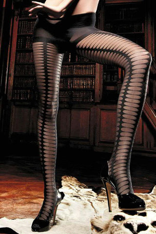 Baci Black Slash Jacquard Pantyhose