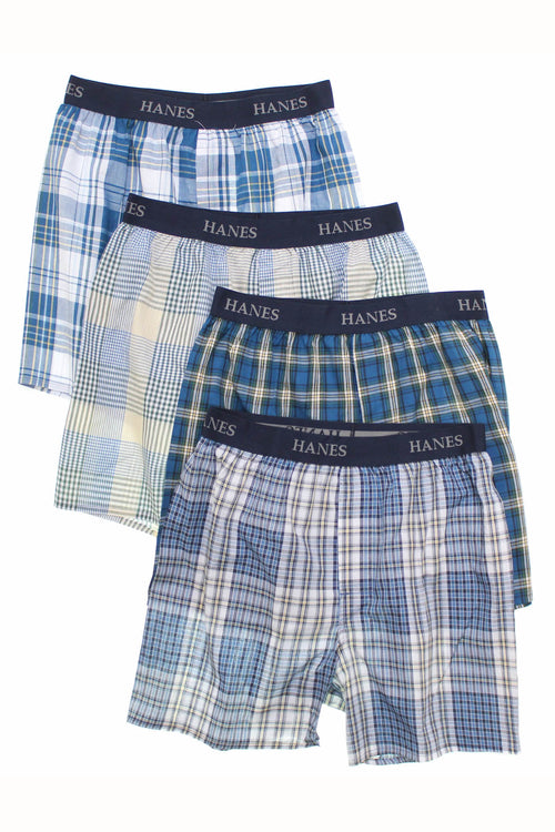 Hanes Assorted Blue Plaid Tagless Boxer Short 4-Pack - CheapUndies.com