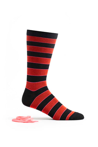 Ozone Black Neon Stripe Crew Sock w/ Laces